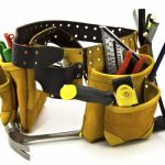 Carpenter Tool Belt and Tools - Isolated on White